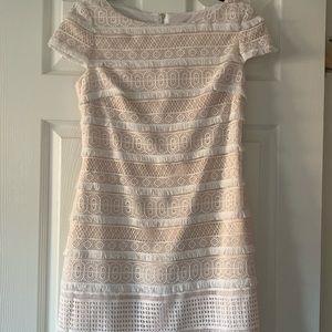 Eliza J White/Cream Lace Party Dress